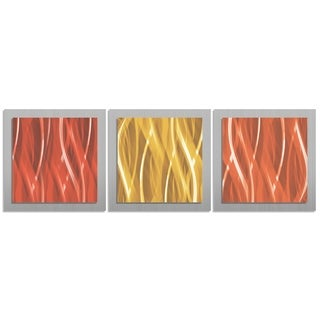 Contemporary Warm Essence Burnt Orange, Red & Gold Layered Metal Wall Art