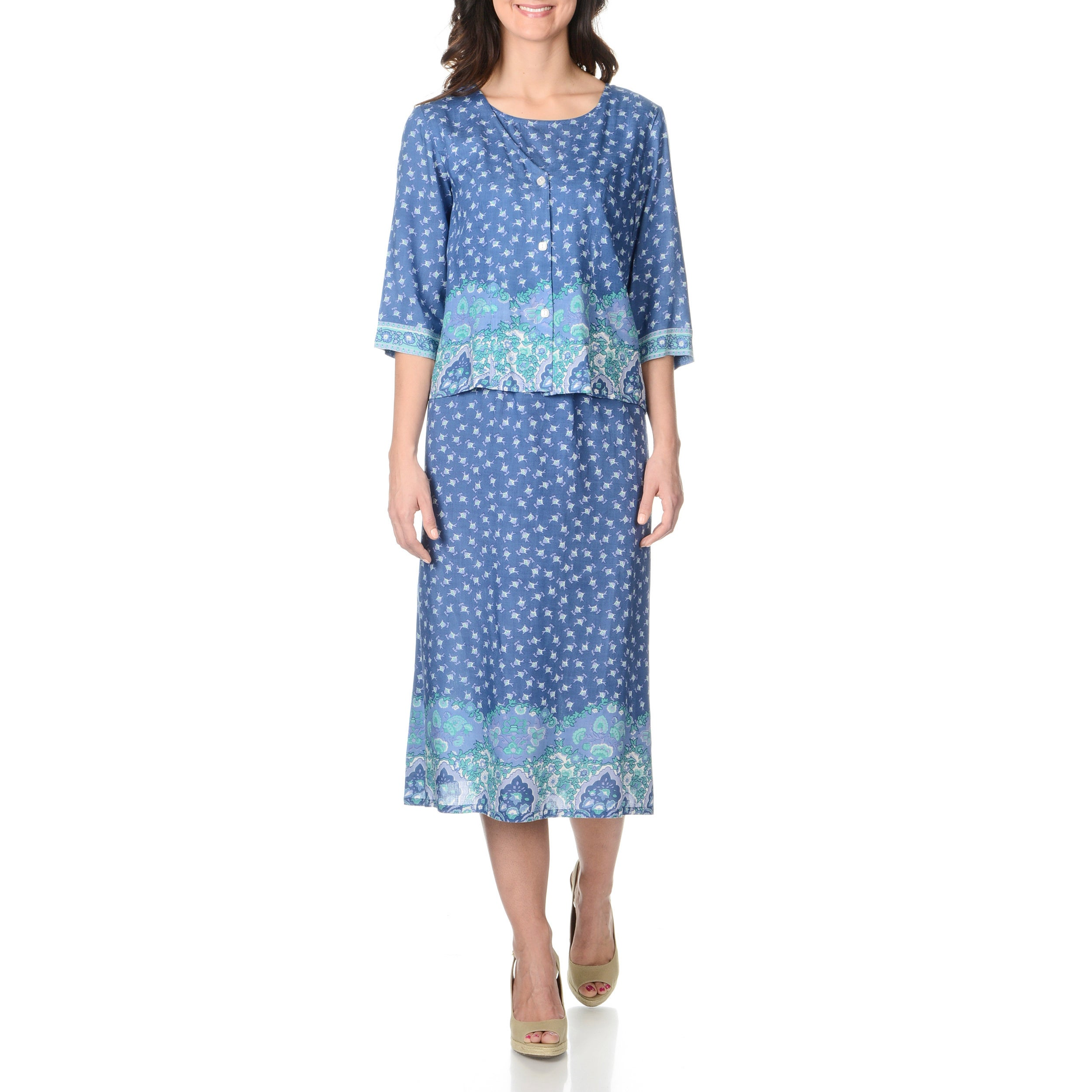 La Cera La Cera Women's Blue Floral Print Mock 2-piece Long Dress