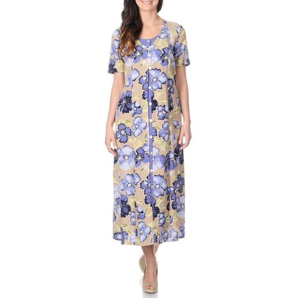 La Cera Women's Khaki Floral Print Mock 2-piece Long Dress