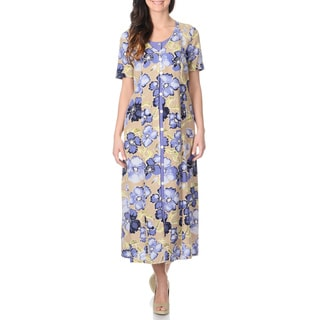 La Cera Women's Khaki Floral Print Mock 2-piece Long Dress