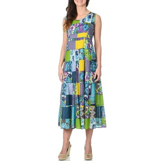 La Cera Women's Turquoise Patchwork Tank Dress