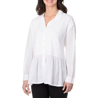 La Cera Women's White Puckered Button-up Top