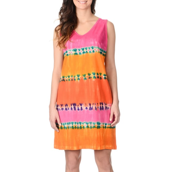 La Cera Women's Coral Tie-dye Tank Dress