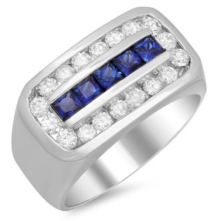 14k White Gold Men's 1 1/3ct TDW White Diamond and Sapphire Ring (F-G, SI1-SI2)