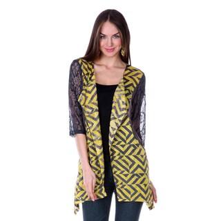 3/4 Sleeve Women's Navy/ Yellow/ Grey Missy Pullover Top