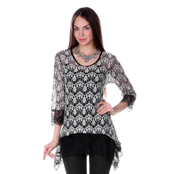 Firmiana Women's 3/4 Sleeve Cream Lace Top