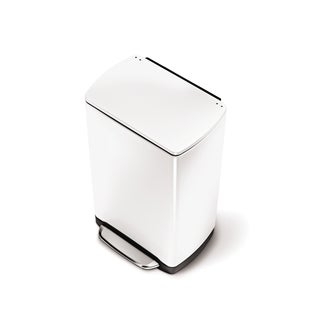 simplehuman White Wide-Step Rectangular Can