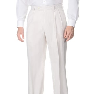 Henry Grethel Men's Double Reverse Pleated Tan/ White Suit Pants