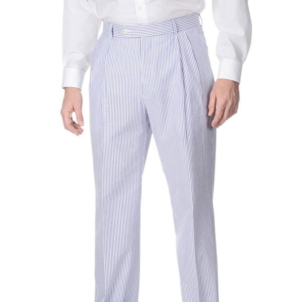 Henry Grethel Men's Double Reverse Pleated Navy/ White Seersucker Suit Pants