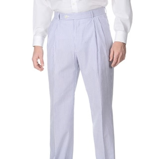 Henry Grethel Men's Double Reverse Pleated Navy/ White Seersucker Suit Pants