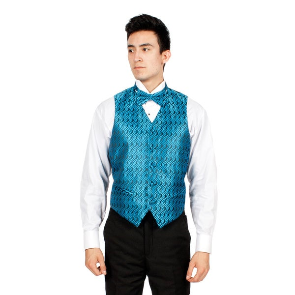 Ferrecci Men's Blue/ Black Ripple Vest, Bowtie Necktie and Handkerchief Set