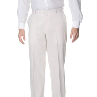 Henry Grethel Men's Big and Tall Flat Front Tan/ White Suit Pants