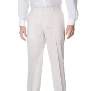 Henry Grethel Men's Flat Front Tan/ White Suit Pants