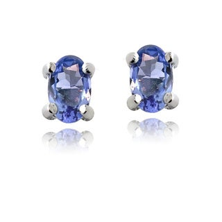 Glitzy Rocks Sterling Silver Tanzanite 5x3 Oval Stud Earrings