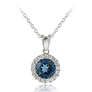 Glitzy Rocks Sterling Silver London Blue Topaz and Cubic Zirconia Necklace
