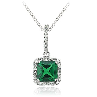 Glitzy Rocks Sterling Silver Created Emerald Necklace