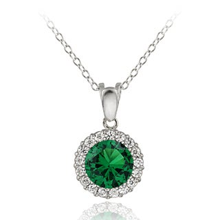 Glitzy Rocks Sterling Silver Emerald and Cubic Zirconia Round Necklace