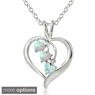 Glitzy Rocks Sterling Silver 3-stone Created Opal and Diamond Accent Heart Necklace