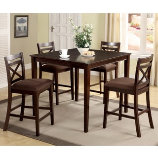 Furniture of America Espresso Westin Transitional 5-piece Counter Height Dining Set