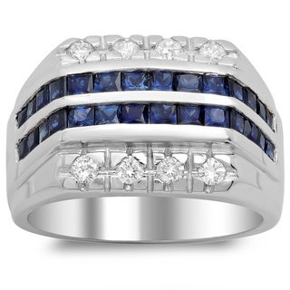 14k White Gold Men's 1/2ct White Diamond and Princess-cut Sapphire Ring (F-G, SI1-SI2)