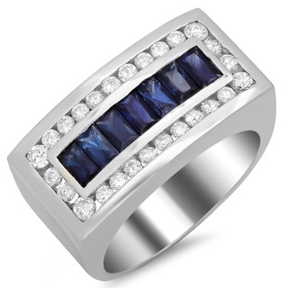 14k White Gold Men's 3/4ct TDW White Diamond and Blue Sapphire Ring (F-G, SI1-SI2)