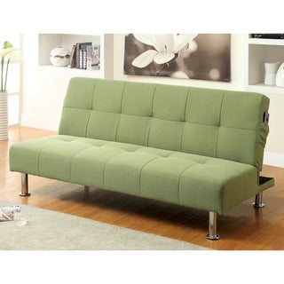 Furniture of America Willbry Spring Contemporary Flax Fabric Futon Sofa