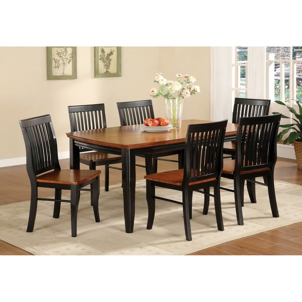Furniture of America Burwood Antique Oak and Black Mission Style 7-piece Dining Set