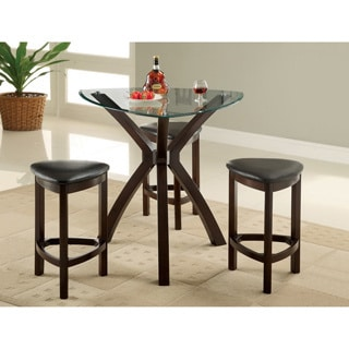 Furniture of America Xani 4-piece Modern Tempered Glass Counter Height Table Set