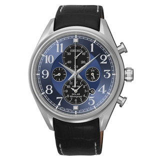 Seiko Men's SSC209 Solar Chronograph Black Leather Strap Watch