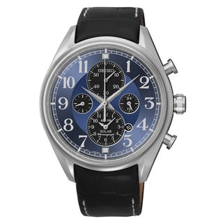 Seiko Men's SSC209 Solar Chronograph Leather Band Watch
