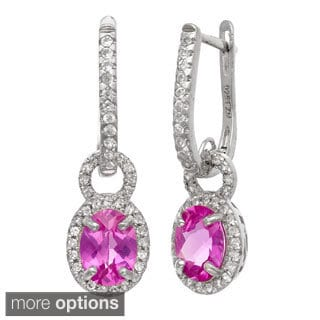 Gioelli Sterling Silver Created Gemstone and Created White Sapphire Accent Earrings