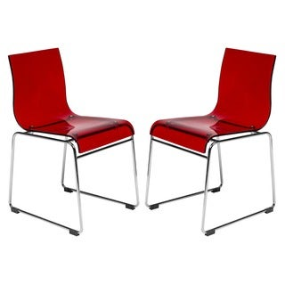 Moreno Transparent Red Acrylic Modern Chair (Set of 2)