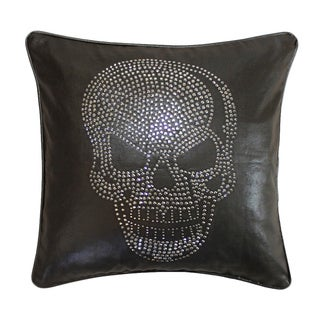 Jackson Morgan Faux Leather Skull Feather Fill Throw Pillow