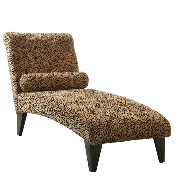 Leopard print chaise lounge chair 16155546 overstock for Animal print chaise lounge furniture