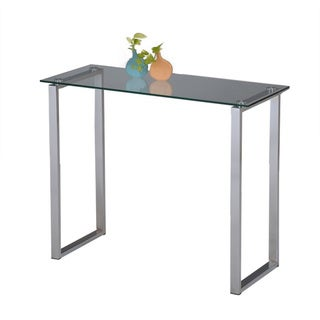 Chrome Finish Tempered Glass Sofa Console Shelf Table