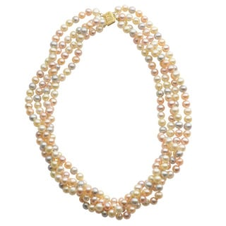 Pearls For You 14k Yellow Gold Multi-Color Freshwater Pearl 4-strand Necklace (6-6.5 mm)