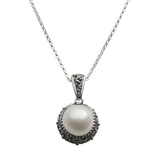 Pearls For You Oxidized Sterling Silver White Freshwater Pearl Pendant Necklace (11.5-12 mm)