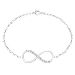 Dolce Giavonna Silverplated Cubic Zirconia Sidways Infinity Bracelet