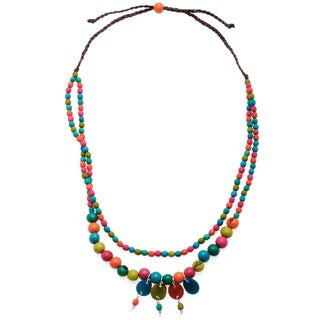 Multi-colored Urban Fossil Double-strand Charm Necklace (Colombia)