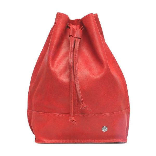 Red Distressed Leather Hobo Bag (Colombia)