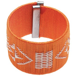 Handmade Orange Thread and Cana Flecha Large Fashion Bracelet (Colombia)