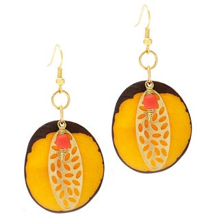 Mystic Garden Feather Dangle Earrings (Colombia)