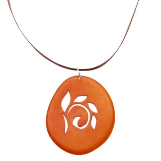 Handmade Nature's Silhouette Orange Tagua Faux Suede Necklace (Colombia)