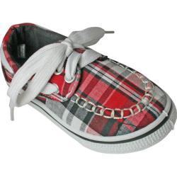 Children's Dawgs Kaymann Boat Shoe Red Plaid