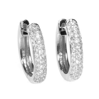 14k White Gold 1ct Diamond Hoop Earrings (H-I, SI1-SI2)