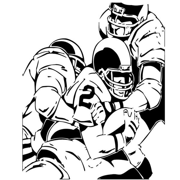 Three American Football Players Black Vinyl Art Wall Decal