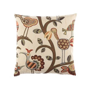 Crazy Bird Decorative 24-inch Feather Filled Throw Pillow