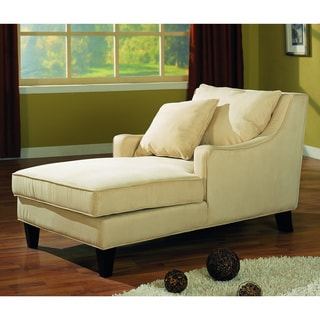Beige Accent Seating Microfiber Chaise Lounge