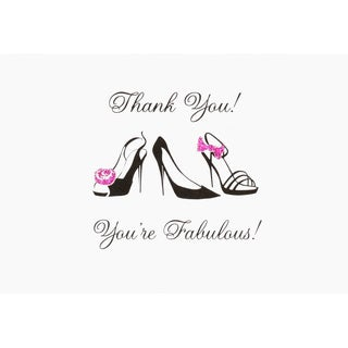 Glitter Black Stiletto Thank You Note Card Set