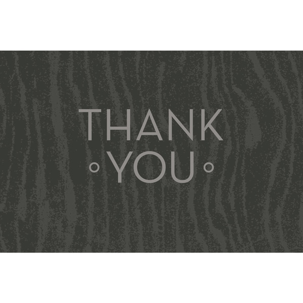 Grey Woodgrain Thank You Note Card Set